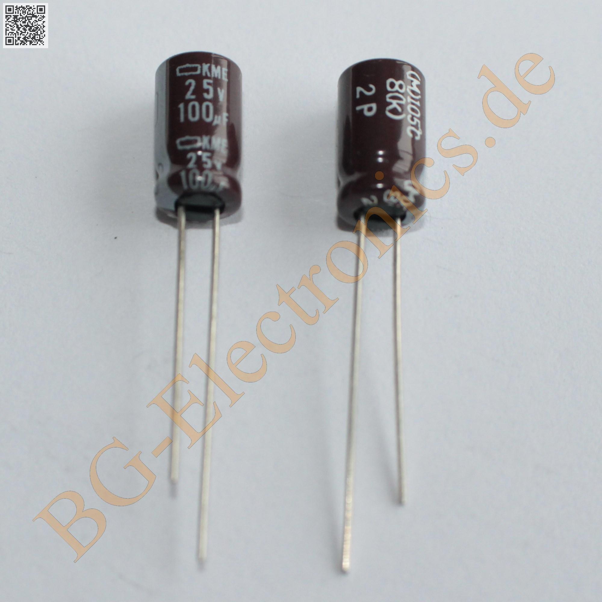 50 x 100 f 100uf 25v 105 rm2 5 elko kondensator capacitor. Black Bedroom Furniture Sets. Home Design Ideas