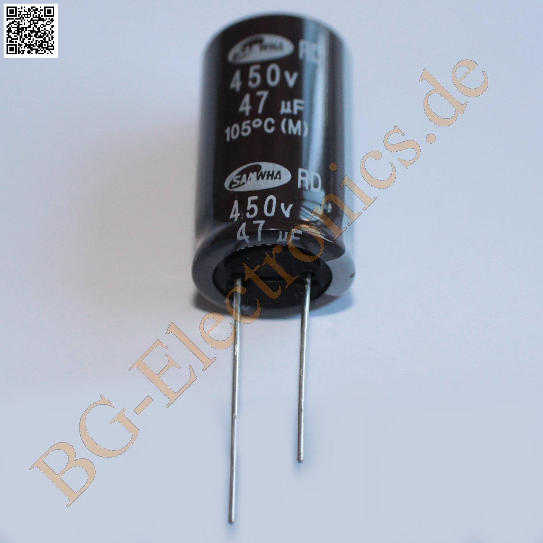 5 x 47 f 47uf 450v 105 rm7 5 elko kondensator capacitor ra samwha e cap 5pcs ebay. Black Bedroom Furniture Sets. Home Design Ideas