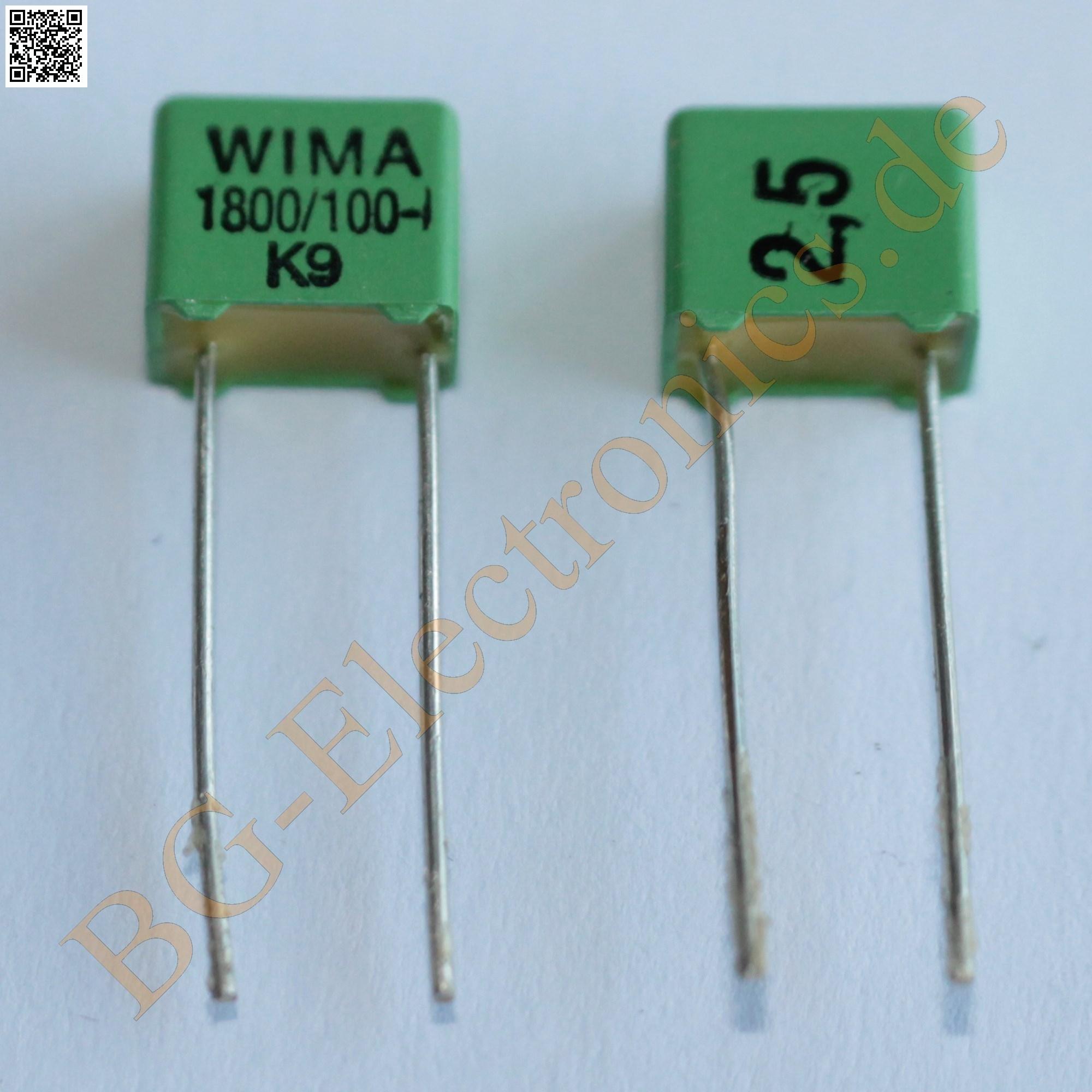 50 x 1800pf 100v fkp 2 rm5 folien kondensator capacitor wima 50pcs ebay. Black Bedroom Furniture Sets. Home Design Ideas