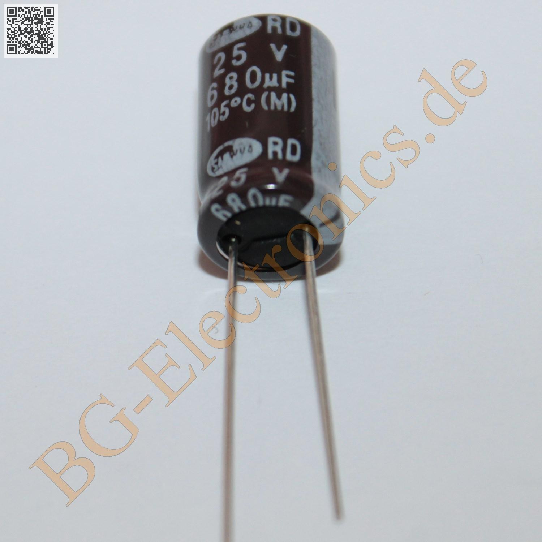 20 x 680µF 680uF 25V 105° RM5 Elko Kondensator Capacitor R Samwha E-Cap 20pcs